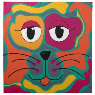 Colorful cat 2 cloth napkins