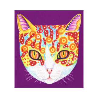 Colorful Cat Art Gallery Wrapped Canvas
