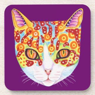 Colorful Cat Coasters - Set of 6