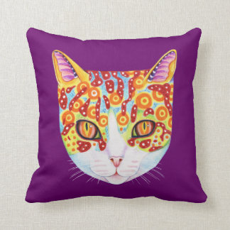 Colorful Cat Pillow Throw Cushion
