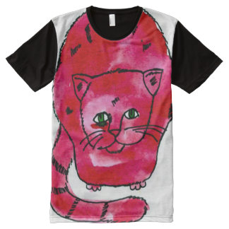 Colorful Cat Watercolor Art All-Over Print T-Shirt