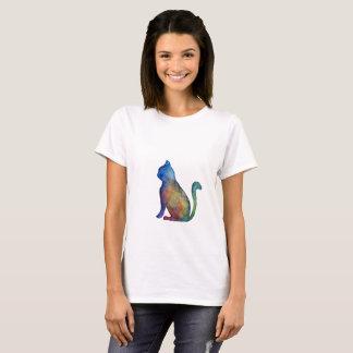 Colorful Cat Women's Basic T-Shirt, White T-Shirt