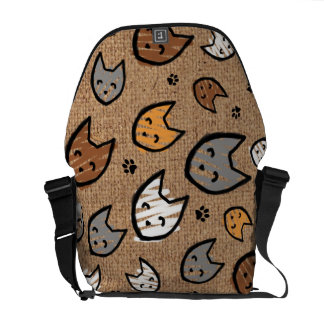 Colorful Cats and Paws Pattern on Faux Burlap Courier Bags