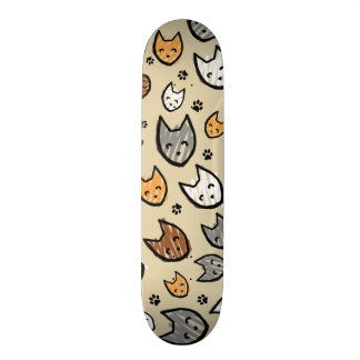 Colorful Cats and Paws Pattern on Tan Skate Decks