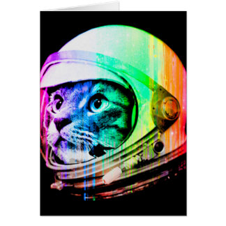 colorful cats - Cat astronaut - space cat Card