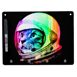 colorful cats - Cat astronaut - space cat Dry Erase Board With Key Ring Holder