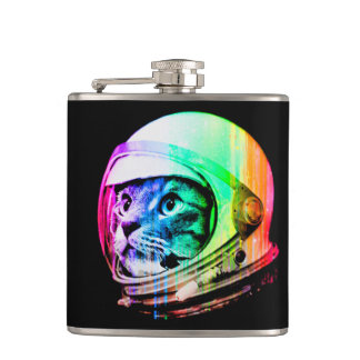 colorful cats - Cat astronaut - space cat Hip Flask