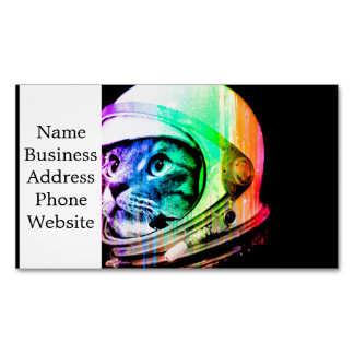 colorful cats - Cat astronaut - space cat Magnetic Business Card