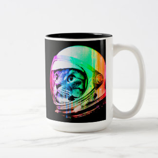 colorful cats - Cat astronaut - space cat Two-Tone Coffee Mug