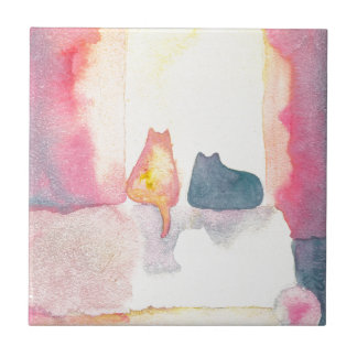 Colorful Cats on a Sunny Sofa Ceramic Tile