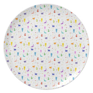 Colorful cats pattern happy funny texture plate
