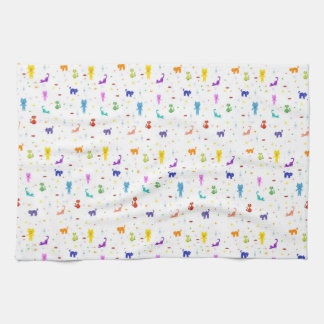 Colorful cats pattern happy funny texture tea towel