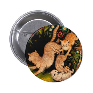 Colorful Cats Romping Artwork Pinback Button