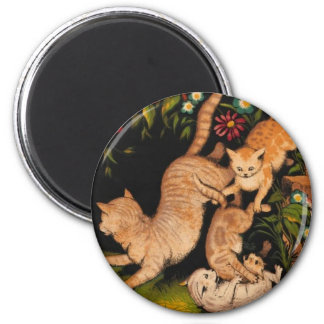 Colorful Cats Romping Artwork Magnet