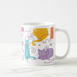 Colorful cats silhouettes pattern coffee mug