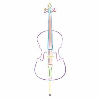 Colorful Cello Standing Photo Sculpture
