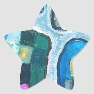 Colorful Cellular Bay (abstract expressionism) Star Sticker