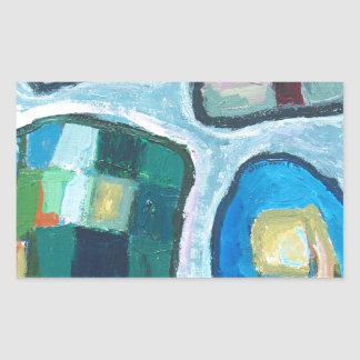 Colorful Cellular Bay (abstract expressionism) Rectangle Sticker