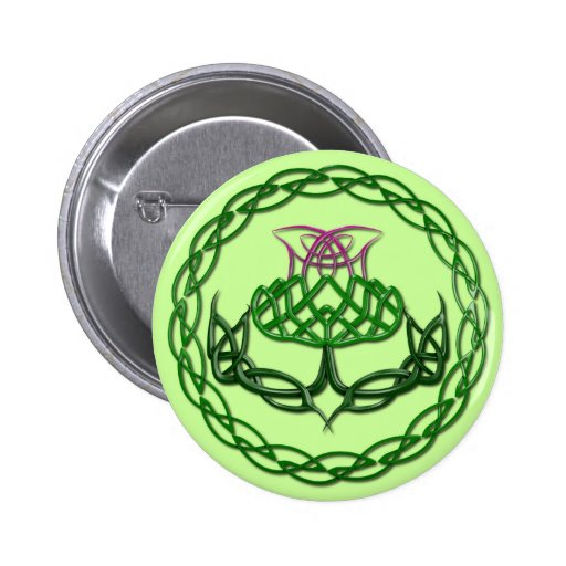 Colorful Celtic Knot Thistle Pin