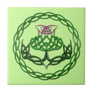 Colorful Celtic Knot Thistle Ceramic Tile