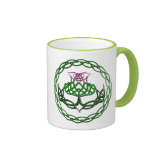 Colorful Celtic Knot Thistle Coffee Mugs