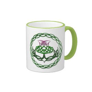 Colorful Celtic Knot Thistle Ringer Mug