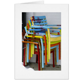 colorful chairs card