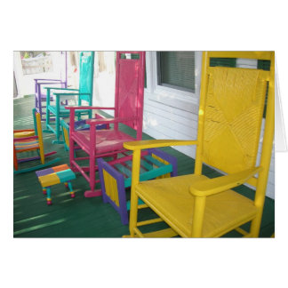 colorful chairs on a porch card