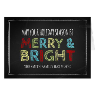 Colorful Chalkboard Christmas New Address Card