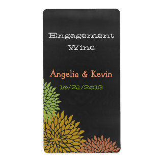 Colorful Chalkboard Engagement Wine Labels