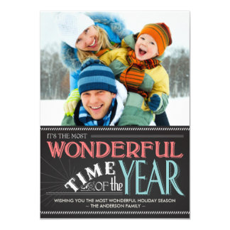 "Colorful Chalkboard Holiday Photo Card 4.5"" X 6.25"" Invitation Card"
