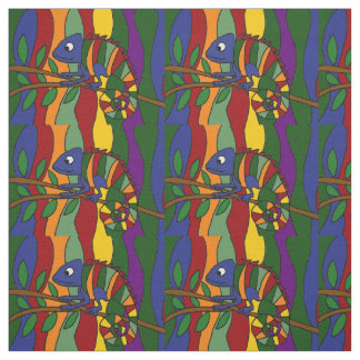 Colorful Chameleon Abstract Art Fabric