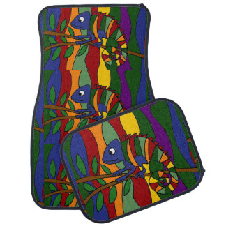 Colorful Chameleon Art Abstract Car Mat