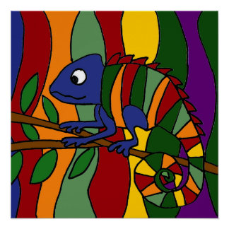 Colorful Chameleon Art Abstract Poster