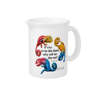 Colorful Chameleon Character & Quote Pitcher
