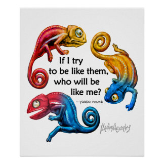 Colorful Chameleons Changing With Quote Poster