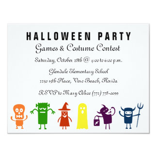 Colorful Characters Kids Halloween Costume Party 11 Cm X 14 Cm Invitation Card