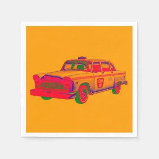 Colorful Checkered Taxi Cab Pop Art Disposable Serviette