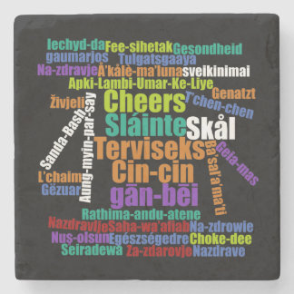 Colorful Cheers Toast in Many Languages Word Cloud Stone Coaster