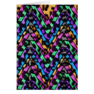 Colorful Cheetah Zig Zag Card