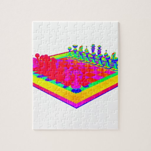 Colorful Chessboard and Chess Pieces Jigsaw Puzzle