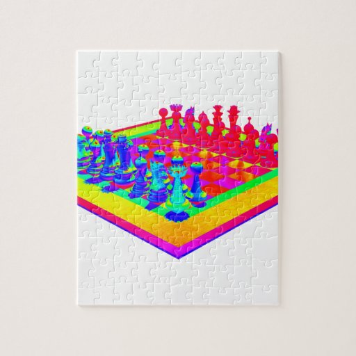 Colorful Chessboard & Chess Pieces Jigsaw Puzzle
