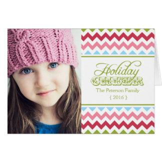 Colorful Chevron Holiday Folded Christmas Greeting Card