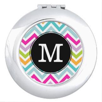Colorful Chevron Monogram Compact Mirror