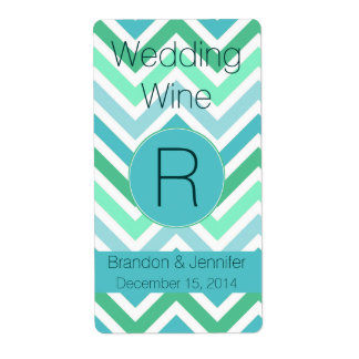 Colorful Chevron Monogram Wedding Mini Wine Label Shipping Label
