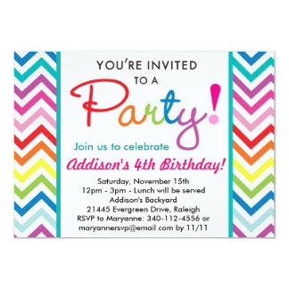 Colorful Chevron Party Invitation