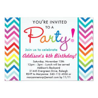 """Colorful Chevron Party Invitation 5"""" X 7"""" Invitation Card"""