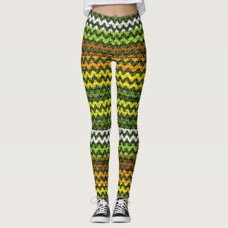 Colorful Chevron Pattern Burlap Look #12 Leggings