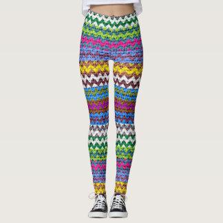 Colorful Chevron Pattern Burlap Look #4 Leggings