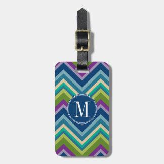 Colorful Chevron Pattern Custom Monogram Luggage Tag